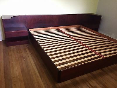 MCM Danish King Rosewood Platform Bed with Attached Nightstands - Excellent Cond