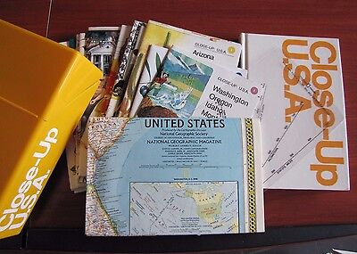 1988 National Geographic Close-up USA Complete Map Set - US, Regions, Book