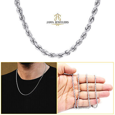 """2MM 10K White Gold Diamond Cut Rope Chain Necklace 16""""- 22"""" Inches"""