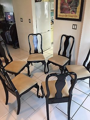 6 Custom Made Wendover Queen Anne Carved Dining Room Chairs By Century Chair Co.
