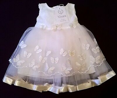visara christening party dress embroidered butterfly 3-6m 12-18m peach ivory new