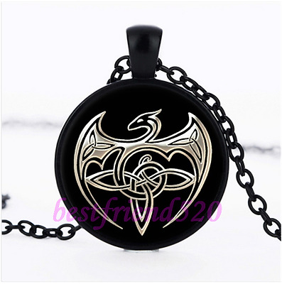 TATTOO STYLED DRAGON CELTIC KNOT BLACK GOTHIC MEDIEVAL GOTH Glass Necklace