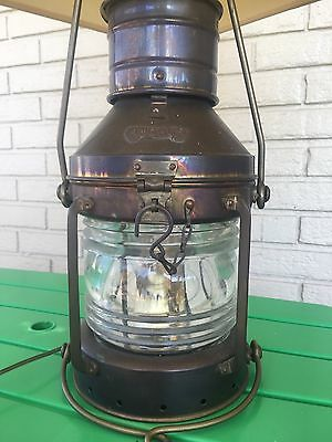 Brass antique Anchor ship boat lantern lamp vintage old glass dome