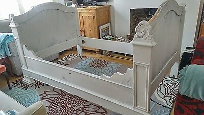 Antique French day sleigh bed frame trundle lit bateau white 1850's painted