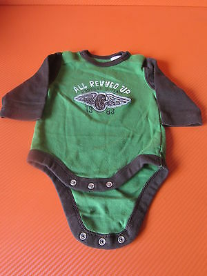 Babygap Body Suit 0-3 Months  In Brown And Green - Vgc