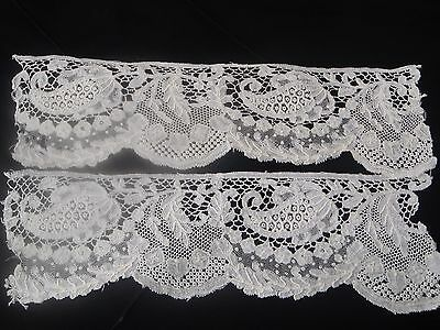 A Hand Worked Pair Of Antique Brussels Lace Cuffs C.1880 - 6 x 21cms