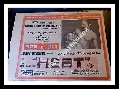 First ANDY WARHOL Movie Release in Aust - HEAT - 1973 Newspaper 1/2 Page Ad