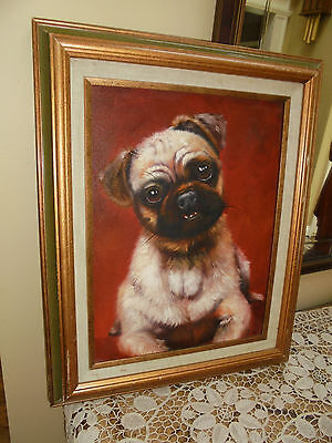Oil Painting On Board Adorable Pug Dog Or Puppy