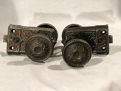 2 Sets Antique Cast Iron Rim Locks & Door Or Cabinet Knobs - No Keepers