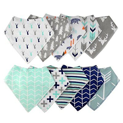 10-Pack Baby Bandana Drool Bibs for Drooling and Teething Boys Girls Super Hot