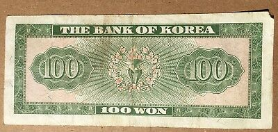 Bank Of South Korea 100 Won Note Ciruclated 1950's 1960's??