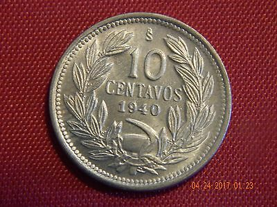 1940 Chile 10 Centavos - Copper-Nickel - Choice BU - 19.5 MM
