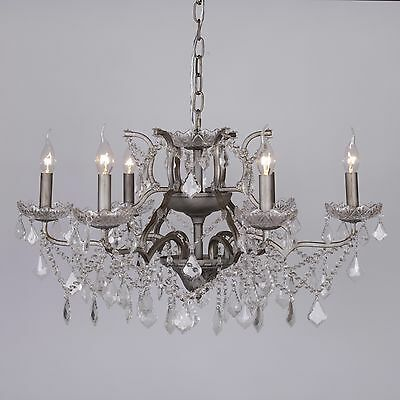Classical French Style 6 Arm Branch Antique Silver Shallow Cut Glass Chandelier