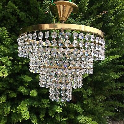 Pair Of Beautiful French Vintage Lead Crystal Chandeliers Semi Flush Solid Brass