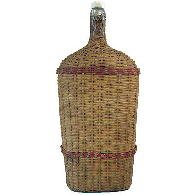 Wicker-Wrapped Glass Bottle with Porcelain Flip-Top - 1880's