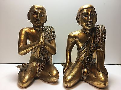Vintage Pair Carved WOOD BUDDHAS Sculpture Gilt Gold Art Asian Statue Deity God