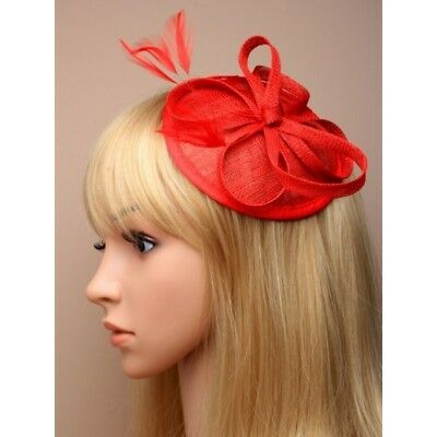 Red Fascinator on Headband/ Clip-in for Weddings, Races and Occasions-5347