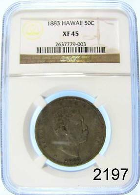 1883 Hawaii 50C Half Dollar Ngc Certified Xf 45 Rare Coin #2197