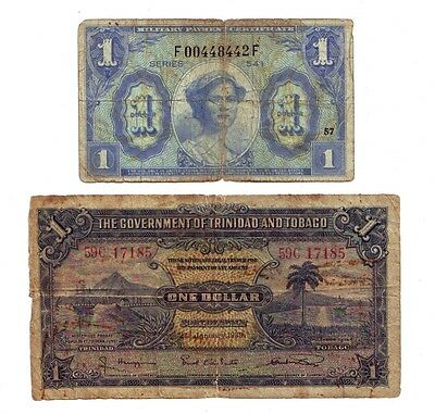2 Notes: Trinidad & Tobago $1 1939; US Military Payment Cert. $1
