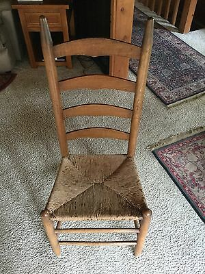 Six Oak Antique Vintage Shaker Cane Chairs Ladder Back Mission Primitive
