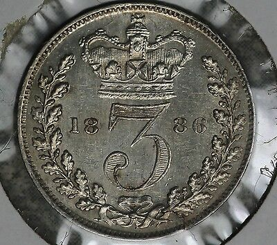 Almost Uncirculated 1886 Great Britain Three Pence Silver Coin!!!
