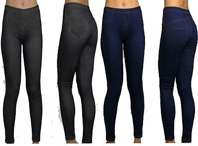Ladies Womens Stretchy Denim Look Skinny Jeggings Leggings Plus Size UK 16-26