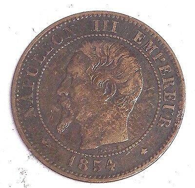 1854-BB France 5 Centimes, French Empire Napoleon III, VF