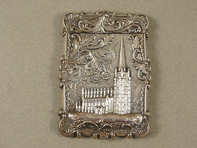 19th Century American Silver 'CASTLE TOP' CARD CASE WASHINGTON'S TOMB c1850
