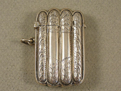 Very Fine Edwardian Silver VESTA CASE. Hallmarked Birm 1907. Cigar Case Design