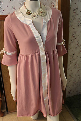 Sweet Mommy Nursing Maternity Gown Knit Sz Lg Antique Rose Cream Silk Bows NWT