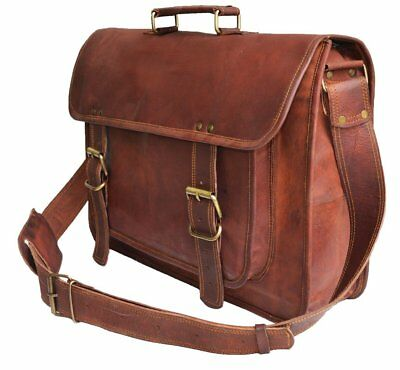 Vintage Crafts Genuine Men's Leather Messenger Laptop Briefcase Satchel Mens Bag