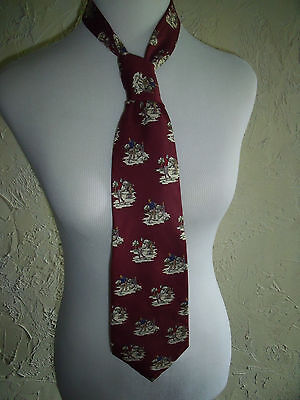 POLO By Ralph Lauren Maroon Tie With Golf Players Motif 100% Silk