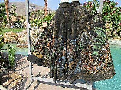 """Vintage 1950s Mexican handpainted circle skirt S/M 26-28"""" waist cotton pockets"""