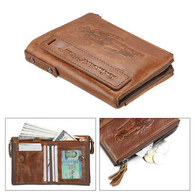 Men's Soft Leather Wallet ID Window Credit Card Holder Coin Pocket Brown MT509