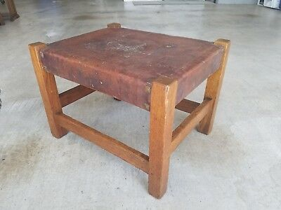 GUSTAV STICKLEY BIG OAK FOOTSTOOL ORIGINAL LEATHER SIGNED Arts & Crafts Mission