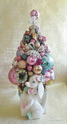 Vintage Christmas Ornament Tree in Dog Planter, Shabby Pink Holiday Decor OOAK