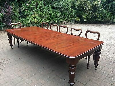 Large Victorian 3Leaf Mahogany Wind Out Extending Dining Table, Seats 10-12,