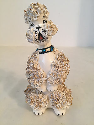 Vintage White Begging Spaghetti Poodle With Aqua Rhinestone Collar & Gold Accent