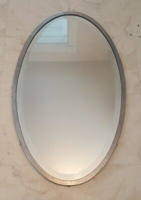 Nickel Plated Brass Oval Beveled Mirror Victorian Vanity