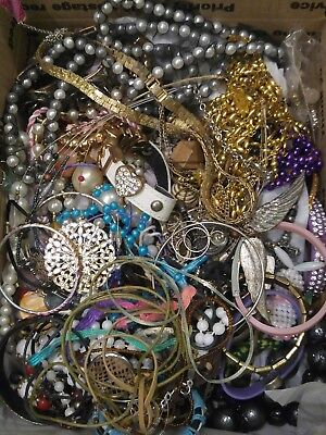 Medium Flat Rate Jewelry Harvest Lot, Flowers, Beads- box photographed as filled