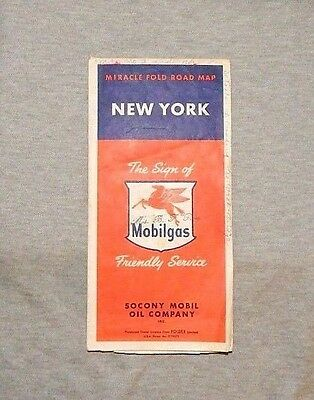 MOBILGAS NEW YORK MIRACLE FOLD ROAD MAP Socony Mobil Oil Co Rand McNally Vintage