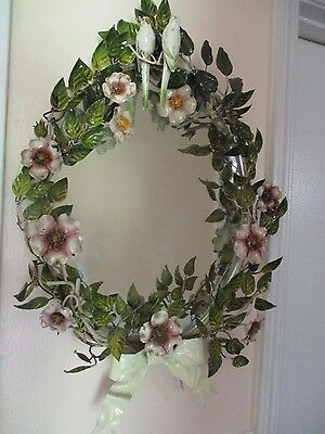 SALE RARE VTG Italian Tole LOVE BIRDS WALL HANGING Mirror WILD PINK Roses LEAVES
