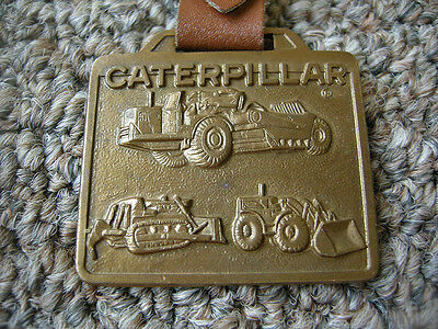VINTAGE CATERPILLAR BRONZE Brass Metal Arts M.A.Co. KEY CHAIN LEATHER FOB