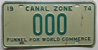 Panama 1974 CANAL ZONE FUNNEL FOR WORLD COMMERCE SAMPLE License Plate # 000