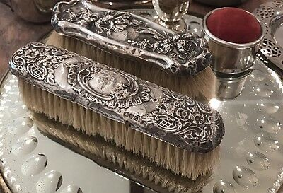 "Antique Sterling Silver Brush Monogram Hallmark 6"" Cartouche Dixon Repousse"