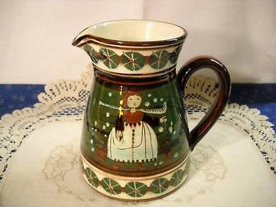 Folk Art Green Highly Glazed Hand Painted Milk Maid Pitcher Dutch Holland Potter