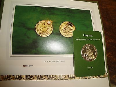 1976 $100 GOLD of Guyana sealed Gem PROOF with COA ARAWAK INDIAN FRANKLIN MINT