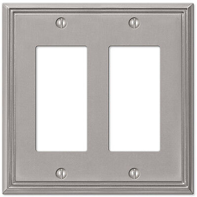 Metro Line Brushed Nickel Double (2) Rocker Gfi Switchplate Wallplate