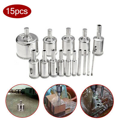 A pack of 15pcs- New Diamond drill bit hole saw kit for drilling glass marble