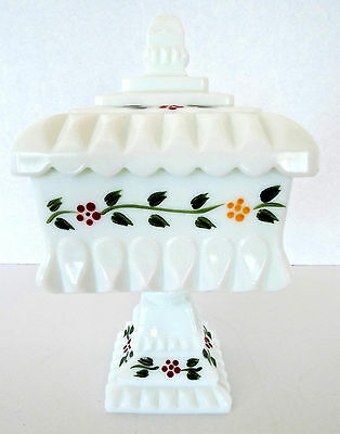 Vintage Westmoreland Milk Glass Wedding Bowl Vintage Hand Painted Compote USA